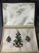Weiss/eisenberg Christmas Tree Pin And Matching Earrings