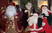 Old World Santa Claus Tree Toppers / Table Top Figurines Set Of 4 12-19 Tall