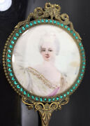 Antique Vintage French Ormolu Artist Signed Portrait Hand Mirror Hand Painted
