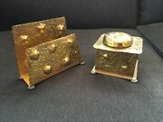 Antique Apollo Studios Ny Copper Brass Hammered Arts And Crafts Mission Desk Set