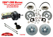1964-66 Ford Mustang Front Drum To Power Disc Brake Conv Kit, Cross Drill Rotors
