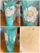 """Vintage Roseville Pottery Peony 69-15 Green Ceramic Vase 15"""" Tall X Wide"""