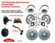 1967-68-69 Ford Mustang Front Drum To Power Disc Brake Conv Kit, 11 Xd Rotors