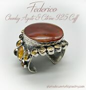 Federico Jimenez-huge Agate And Yellow Citrine-2-7/8 Wide-925 Cuff-8.17 Ounces