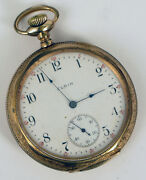 Antique Gold Filled Pocket Watch Elgin 15 Jewels Usa Not Working For Repair