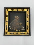 Early Madonna And Child Religious Painting On Copper Ornate Frame Icon Retablo