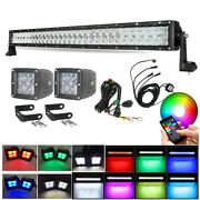 Rgb 32 180w Offroad Led Light Bar Combo + 2x 3 Spot Pods And Wiring Harness Kits