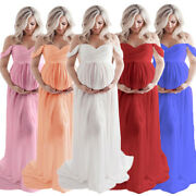 Women's Maternity Long Maxi Gown Pregnant Off Shoulder Dress Photography Props