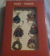 Past Times Christmas 6x Enamelled Wine Charms Boxed Free P+p