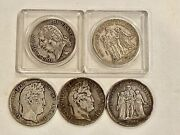 5 Silver Francs 1824, 1832, 1834, 1849 And 1875, See Other Silver, Gold And Coins
