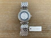 New Michele Caber Pave Diamond Mop Black Dial Stainless Steel Watch Mw16a01a2965