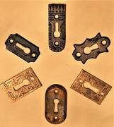 6 Antique Brass And Cast Iron Door Escutcheon Keyhole Plate Cover Vintage Old Guys