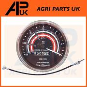 Tractormeter 3 Cyl Tachometer Gauge Acw Mph + Cable For Massey Ferguson Tractor