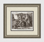 1649 Raphael Antique Engraving Baby Moses Placed In The Nile Framed Signed Coa