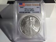 Ms69 2005 American Silver Eagle - First Strike - Graded Pcgs. Bl12