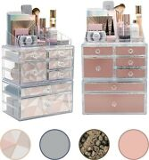 3-piece Ultra Deluxe Cosmetics And Makeup Organizer - 4 In 1 Stylish Color Options