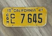 1947 California Truck Commercial License Plate Original Collector Vintage