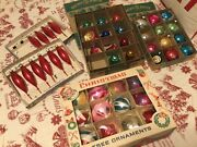 45 Vintage Glass Christmas Ornaments Tear Drop Indent Poland Shiny Brite