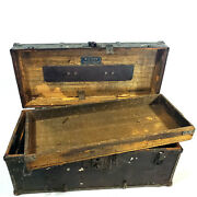 Antique Tool Box Chest Machinist Leather Wood Metal 1920 Vintage A Treasure