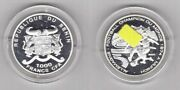 Benin Silver 1000 Francs Unc Coin 2001 Year Germany World Cup 1974