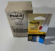 Lot Of 12 Post-it Flags, Blue, 1-inch, One Dispenser Of 50 Flags 680-2