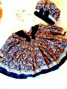 12month Handmade Vintage Style Floral Winter Dress With Matching Beret Style Hat