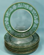 Set Of Eight American Green And Clear Cut Glass Desert Plates Mid-century