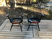 Dollhouse Windsor Wooden Arm Chairs 2x