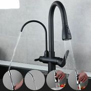 Deck Mounted Faucets Pull Out Hot Cold Water Filter Tap Three Ways Sink Mixer