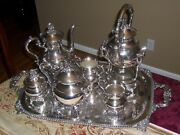 Gorgeous Vintage Silver Plate Tea Silverplate 8 Piece Teapot Set With Tray
