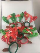 Lot 10 Christmas Headbands Reindeer Antlers Holiday Party Hairbands New