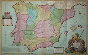 Spain And Portugal From Herman Moll - Big Rare Card - Spain 1720 - Rare