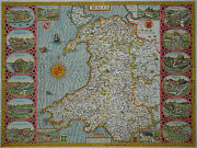 John Speed - Wales - Seltene Elaborate Card From Original From 1614