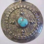 Navajo Silver Turquoise Pendant Old Pawn Bench Beads Antique Native Necklace