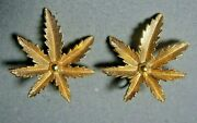 Sarah Coventry Signed Gold Plate Marihuana Hemp Leaves Vintage Clip Earrings