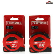 Craftsman 25 Ft. L X 1 In. W Tape Measure Black 2 Pack New