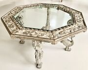Antique Indian Hand Carved Coffee Table Whitewashed Wood Octagon Glass Inset Top