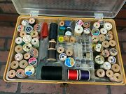 Vintage Sewing Box With Over 200 Spools Of Thread Mixed Lot