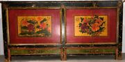 Chinese Qing Style Red Black Lacquer Finish Pine Cabinet Lotus Peony Floral Art