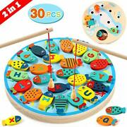 Lewo 2 In 1 Fishing Game 30 Pcs Wooden Magnetic Alphabet Letter Fishing Toys