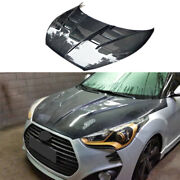 Fit For Hyundai Veloster 2011-2016 Hood Vented Cover Cap Refit Dry Carbon Fiber