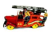 Old Ladder Fire Truck Friction 1950and039s Antique Tin Toy From Japan F/s