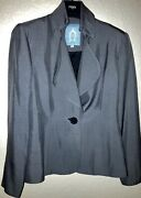 Zang Toi-pewter Silk 1 Button Blazer/jacket-size 2-beautiful-made In Nyc