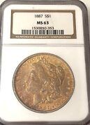 Look__1887- Ngc Ms-63 U.s. Morgan Silver Dollar- See Other Rare Coins, Jewelry