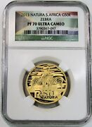 2013 Gold South Africa 684 Minted 50 Rand Zebra Natura Ngc Proof 70 Ultra Cameo