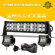 12/14inch Led Light Bar Work Spot Flood Combo Driving Truck Atv+ Wiring For Jeep
