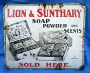 Old Porcelain Enamel Sign Board Of Lion And Sunthary Soap Brand Advertisement