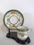 Minton Green And Raised Gold Demitasse Cup And Saucer, And Co