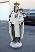Nice Antique Statue Of Mary Our Lady Of Mt. Carmel 5and039 Ht. Cu475 Chalice Co.