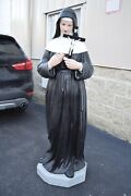 Nice Old Plaster Statue Of St. Rita Real Glass Eyes 62 Ht.cu476 Chalice Co